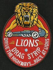 LIONS DRAG STRIP RACE GREASER RACING GEARHEAD ROCKABILLY HOT ROD BIKER PATCH