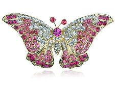 Rose Crystal Rhinestone Gold Tone Butterfly Insect Bug Design Lady Brooch