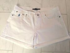 NWT POLO RALPH LAUREN LADIES WHITE DENIM COTTON SHORTS 32  PONY