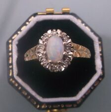 Women's 9ct Gold Opal & Diamond Stone Ring W1.7g Size N 1/2 Stamped Quality Ring