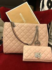 NWT MICHAEL KORS LEATHER SUSANNAH LARGE TOTE BAG + ASTRID WALLET - BALLET/SILVER