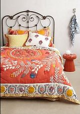 Anthropologie Reversible Zocalo King Quilt Orange Motif 2 King & 2 Euro Sham