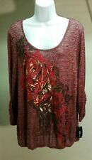 NWT $46 Style&co. Women's Multi-Color Floral 3/4 Sleeve Top Blouse Size: L