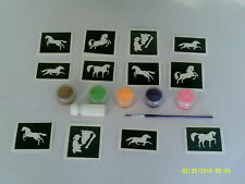 Horse themed glitter tattoo set incl. stencils + glitter + glue