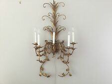"Vintage French Gilt Tole Crystal PAIR Wall Sconces 39"" 5 light Wall Chandelier"