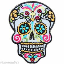 Skull Mexican Sugar Cross Flowers Vine Tattoo Biker Rocker Iron On Patch #0554