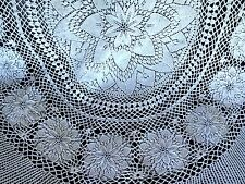 Vintage Cotton Hand Crochet Lace Tablecloth Bedspread Round 58""