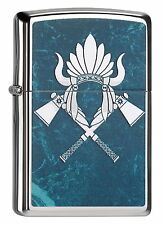 ZIPPO Feuerzeug INDIAN HEADRESS Hig Polished Chrome Indianer Kriegsbeil NEU OVP