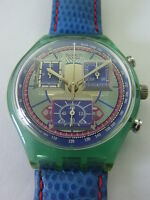 SCN112 Swatch - 1994 Chrono Echodeco Square Blue Swiss Made Authentic Art