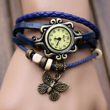 Women Vintage Charm  Butterfly Bracelet Faux Leather Quartz Wrist Watch Blue *