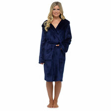 Luxury Shimmer Ladies Soft Long Hooded Fleece Bath Robe Dressing Gown House Coat