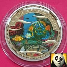 2001 PALAU $1 DOLLAR MARINE LIFE PROTECTION COLORED IMPERATOR & CLOWN FISH COIN