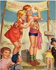 VINTAGE CALENDAR PRINT ORIGINAL LITHOGRAPHY C1950 CHILDREN CIRCUS ILLUSTRATION
