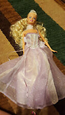 1999 mattel barbie doll purple dress crown blond hair