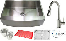 """30"""" Apron Front Stainless Steel Farmhouse Kitchen Sink and Pull Out Faucet Combo"""