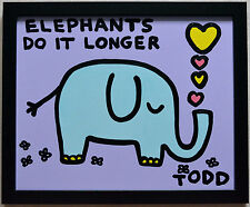 "TODD GOLDMAN ORIGINAL PAINTING ""ELEPHANTS DO IT LONGER"" SIGNED W/COA 22X18"