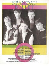 SPANDAU BALLET : Toys lyrics  magazine PHOTO/Poster/clipping 11x8 inches