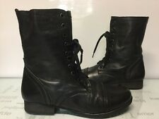 Steve Madden Leather Kombat Boot Size 8.5 Combat Black Lace Up Zipper