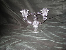 VINTAGE CLEAR GLASS CANDLE HOLDER HEART IN CENTER ETCHING ON BASE