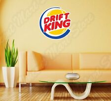 "Drift Burger King Racing Cars Funny Wall Sticker Room Interior Decor 22""X22"""