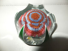 Baccarat 1970 Limited Edition Millefiori Mushroom Overlay Facet Paperweight