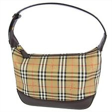 Auth BURBERRY Nova Check Plaid Pattern Canvas Hand Bag Brown G/C F/S 16937eSaM
