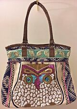 The Pyramid Collection Owl Sequin Beaded Canvas Tote Handbag XL NEW