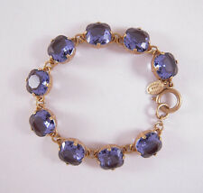 Catherine Popesco 14k Gold Plated Large Tanzanite Swarovski Crystals Bracelet