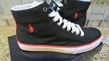 NEW POLO RALPH LAUREN BALLARDS BLACK CANVAS SNEAKER SHOES MENS 9 HI FREE SHIP