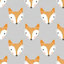 Fabric Fox Faces on Grey Cotton by the 1/4 yard BIN