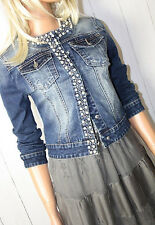 Jacke Jeansjacke Gr. L / 40 Neu Denim Used-Look Blue Strass Perlen