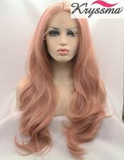 K'ryssma Fashion Baby Pink Wigs Long Wavy Lace Front Wig Mixed Color Light Pink
