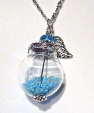 BLUE FAIRY DUST WISHING JAR NECKLACE glass orb bottle pendant star glitter R6