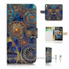 HTC Desire 820 Flip Wallet Case Cover! S8500 Abstract Flower