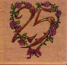 Motivstempel rubber stamp Jubiläum 25  silber Hochzeit Zahl 25 Herz Kranz
