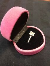 pink ring box wedding velvet diamond engagement gift   b12