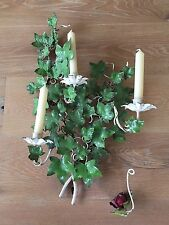Vintage Chic Italian Tole 3 candle holder  Wall Sconce  Green IVY & Snuffer