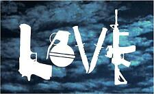 LOVE with GUNS car decal ar15 xd grenade cool cute cz glock window vinyl sticker