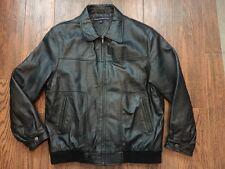 TOMMY HILFIGER BLACK LEATHER Bomber Jacket LARGE L