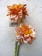 Pack 12 Stems Small Orange Dahlia Artificial Silk Flowers