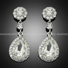 Wedding Party Silver Rhinestone Crystal Clear Teardrop Diamante Bridal Earrings