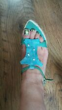 Designer ITALOBALESTRI Sandals size 4 37 green Leather snake effect Strappy
