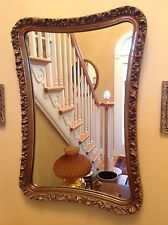 """Vintage Gold Gilt Gesso Wall Mirror Wood 27"""" x 19"""" Ornately Carved Large Heavy"""