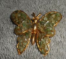 Vintage -  Gold Toned Green Jade Chip BUTTERFLY BROOCH