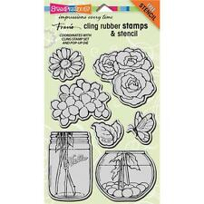 New Stampendous RUBBER STAMP cling JUMBO build a bouquet flower set free us ship
