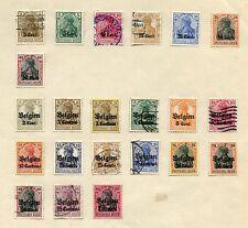 22 x Landespost in Belgien (gestempelt/postfrisch mit Falz auf Papierbogen)