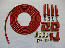 ALL RED 8MM PERFORMANCE IGNITION LEAD KIT FOR THE 4 CIL 3 METERS IDEAL KIT CARS