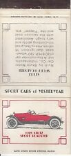 Sport Cars of Yesteryear Lot of 6 Matchcovers Stutz Mercer Velie Roamer Sport