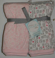 New Carter's Precious Firsts Owl Heart Pink White 2 Pk Cotton Swaddle Blankets
