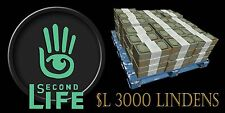 Second Life $3000 Linden Dollars. For use is Secondlife. SL Avatar.